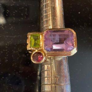 Lg Amythist Peridot Garnet 14k Gold Gemstone Ring